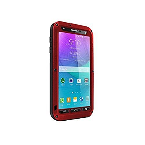 Note 4 Case;Metal Extreme Aluminum Military Heavy Duty Shockproof Water Resistant Dust/Dirt/Snow Proof Gorilla Glass Protection Case Cover for Samsung Galaxy Note 4 (Red)