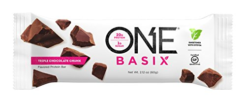 ONE Basix Protein Bar Triple Chocolate Chunk 12 Count, Gluten-Free Protein Bar with High Protein (20g) and Low Sugar (1g), Guilt Free Snacking for Healthy Diets