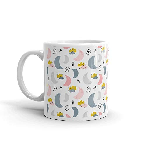 Seamless Childish Pattern With Moons Clouds Stars Kids Texture Fabric Wrapping Textile Wallpaper Apparel Ill Cat Water Mug Cup Ceramic 11oz