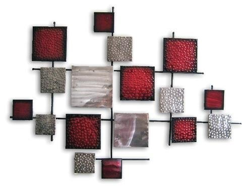 Silver And Red Squares Design Metal Wall Art Home Decoration: Amazon.co.uk:  Kitchen U0026 Home