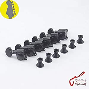 1 set 6 in line genuine grover left hand guitar machine heads tuners 1 18 black. Black Bedroom Furniture Sets. Home Design Ideas