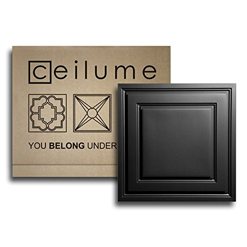 - 6 Pc. - Ceilume Oxford Black 2 x 2 Lay-in Ceiling Panels - $3.89 Per Sq. Ft. - $15.56 Per Tile - Faux Ceiling, Drop Ceiling, Decorative Ceiling Tiles, PVC Ceiling, Glue up Ceiling, T-bar Ceiling