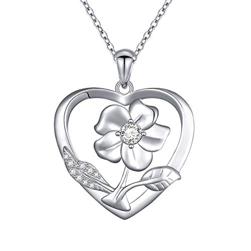 S925 Sterling Silver Flower Floral Heart Pendant Necklace for Women Girl