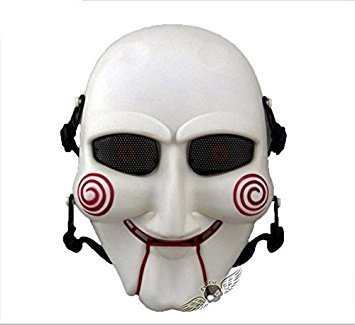 2015 - WhiteRed HALLOWEEN NEW JIGSAW PUPPET BILLY SAW FACE FANCY DRESS COSTUME (Jigsaw Puppet Halloween)