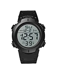 Perman Rubber Sport LCD Digital Stopwatch Date Wrist Watch for Men Women (Black)