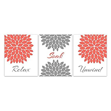 UNFRAMED PRINTS (CHOOSE YOUR SIZES) - Bathroom Wall Art, Relax Soak Unwind, Coral and Gray Bathroom Decor, Modern Bathroom Art, Set of 3 Bath Art Prints - BATH55