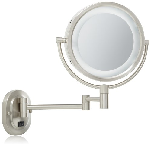 Jerdon HL65ND 8-Inch Lighted Direct Wire Wall Mount Mirror with 5x Magnification, Nickel Finish ()