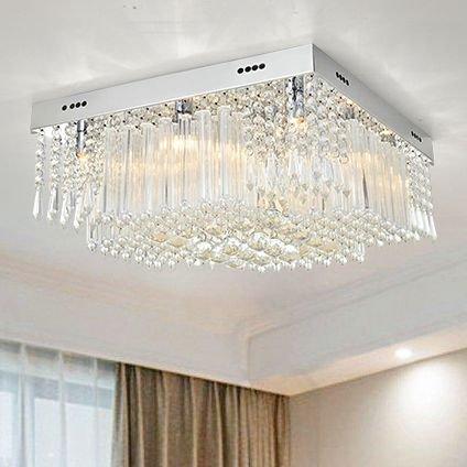 An ka Modern Clear K9 Crystal Square Raindrop Chandelier Lighting Flush mount LED Ceiling Light Fixture Lamp for Dining Room Bathroom Bedroom Livingroom 12 G9 Bulbs Required H10in X D16in (Chandelier Twelve Light Raindrops)