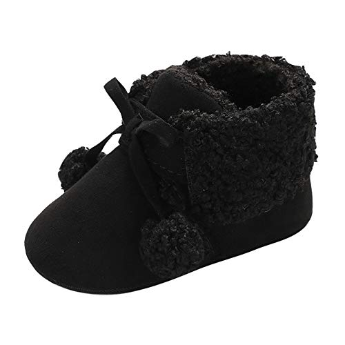Baby Kids Shoe,Fineser Toddler Baby Girl Boy Hair Ball Soft Premium Bandage Snow Boots Warm Fur Winter Shoes (Black, 12-18M)