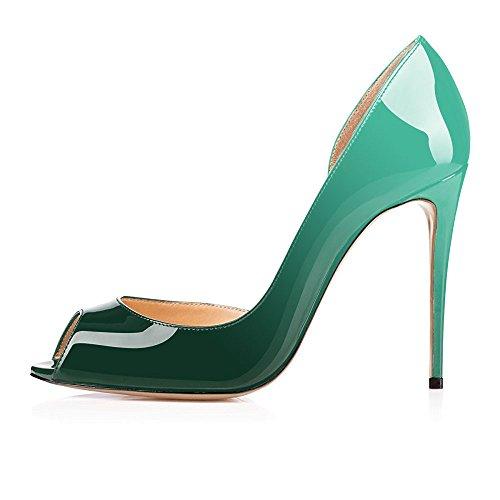 für grün Frauen Toe Schuhe uBeauty Stiletto Sandalen Schuhe Heel High bunt Heel Slip D'Orsay Schuhe On Gericht Hochzeit Peep TSddwZ0qx