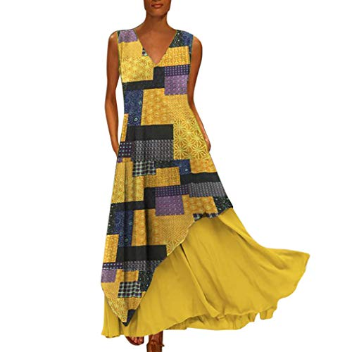 Lotus.Flower Women Plus Size Vintage Bohemian V Neck Splicing Sleeveless Printed Colour Maxi Dress Yellow