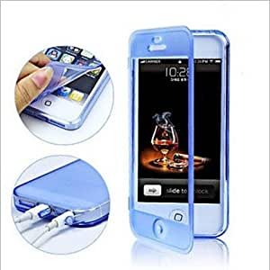 LZX Touch Screen TPU Transparent Full Body Case for iPhone 5/5S(Assorted Color) , White