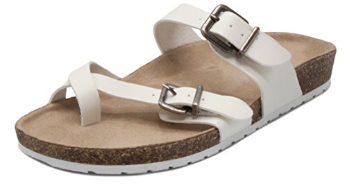 Sugar Women's Xporter 2 Band Cork Sandal Slide with Buckles and Toe Thong White 8.5 (Suede Sugar)