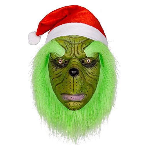 molezu Grinch Mask with Christmas Hat Deluxe Full Head Latex Helmet Costume Party Props Decoration -