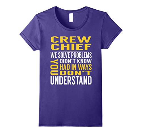 Crew Chief Costume (Womens Crew Chief Solve Problems TShirt Large Purple)