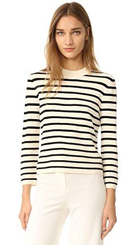 Theory Women's Lemdora Sweater, Parchment/Black, Petite