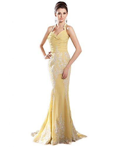 ASBridal Halter Mermaid Lace Brush Train Evening Formal Dress US (Halter Brush Train)