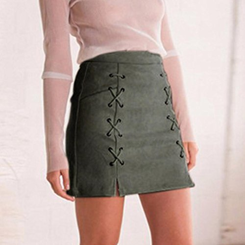 Mini Stretch Jupe Fabric Sexy Bandage Armée Slim Adeshop Tissu Couture Verte Sans Suede Femmes xaX1HX