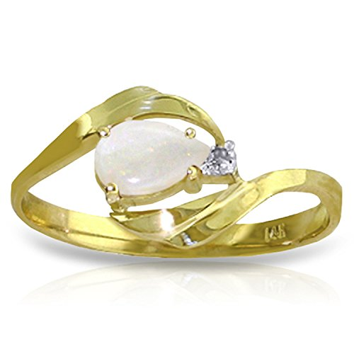 0.26 Carat 14k Solid Gold Ring with Natural Diamond and Pear-shaped Opal - Size 8.5 by Galaxy Gold