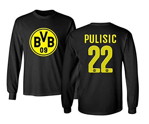 Borussia Dortmund Christian Pulisic Soccer Football Jersey Style Men's Long Sleeve T-Shirt – DiZiSports Store