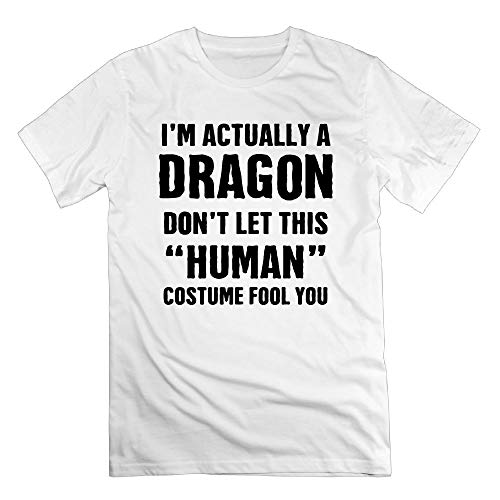 TangChuan Women's I'm Actually A Dragon Don't Let This Human Costume Fool You Funny White T-Shirt