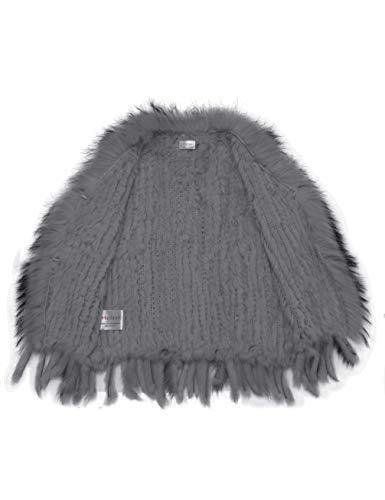 de Fourrure HEIZZI Raccoon col tricot avec Lapin de 100 Veste BqpnwgPv
