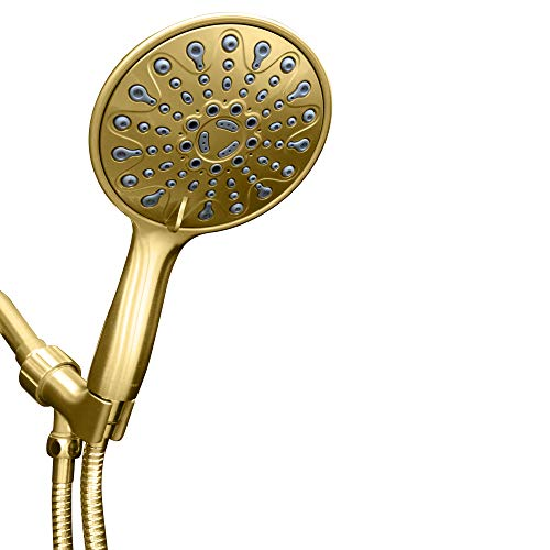 ShowerMaxx | Elite Series | 6 Spray Settings 6 inch Hand Held Rainfall Shower Head | Extra Long Stainless Steel Hose | Easy-to-Remove Flow Restrictor to MAXX-imize Rain | Polished Brass/Gold Finish ()