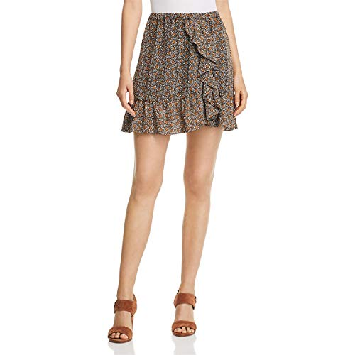 (Michael Michael Kors Womens Pop Deco Floral Print Mini Tulip Skirt Gold XL)