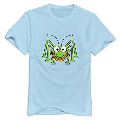 Men's Awesome Casual Cute Green Spider T-Shirt SkyBlue US Size XL