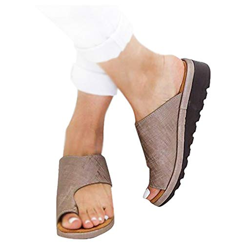 CCZZ Women Summer Wedges Platform Sandals Stylish Thong Flip Flops Ultra Comfort Slippers Toe Loop Flat Sandals Bronze, 6 ()