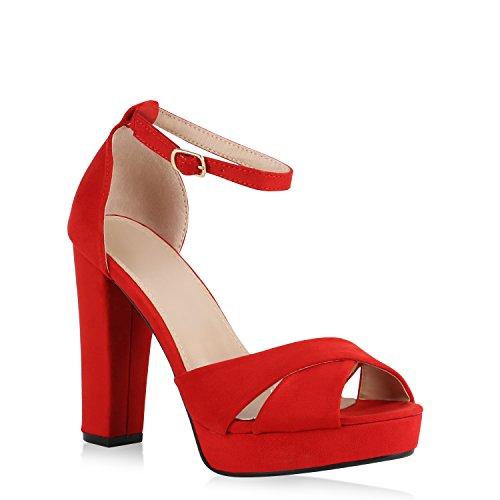 Stiefelparadies Damen Sandaletten Plateau Blockabsatz High Heels Schuhe Flandell Rot Avion