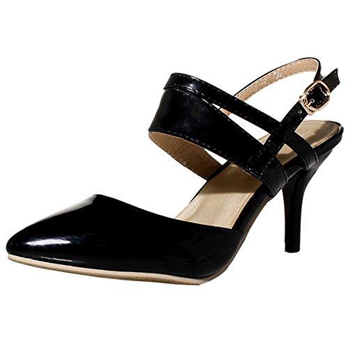 COOLCEPT Zapato Mujer Moda Puntiagudo Tacon medio delgado Sandalias for Fiesta Trabajo Mini Size Negro