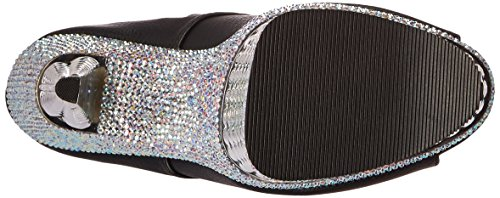 Pleaser ILLUSION-1021RS Blk Faux Leather/Slv Chrome-RS