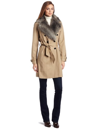 Kenneth Cole New York Women's Petite Faux Fur Collar Trench Coat
