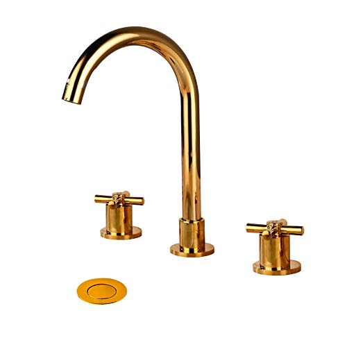 Wovier Shiny Polished Gold 8-16 Inch Widespread Waterfall Bathroom Sink Faucet,Two Handle Three Hole Lavatory Faucet,Basin Mixer Tap With Pop Up Drain,French Gold