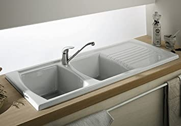 Luna Ceramic 20 Bowl And Drainer Kitchen Sink White