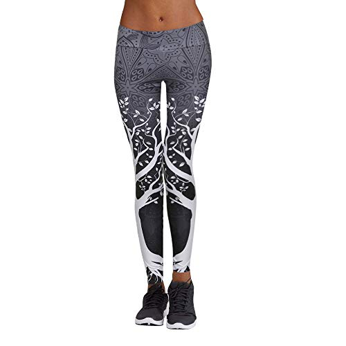POQOQ Leggings High Waist Out Printed Yoga Capris Pants Tummy Control Workout Running Stretch Yoga 3XL Gray