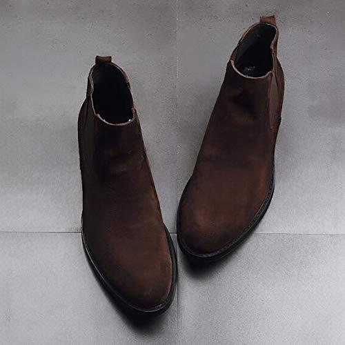 Brown Acentuada Boots Casual Gamuza Shoes Para Botines Martin De Inglaterra Hombre High Negocios Chukker Botas Top WZW1qwg
