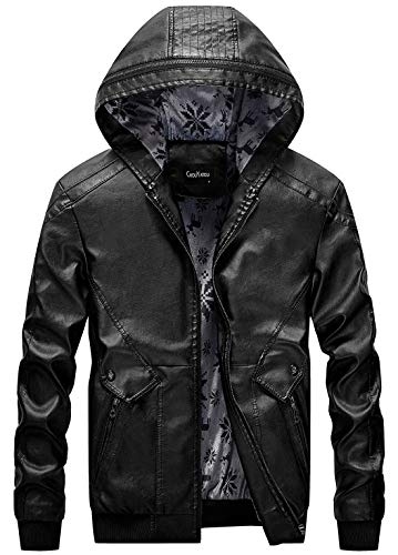 ish Hooded Zip-Front Fleece Lined Moto Pu Leather Bomber Jackets (Small, Black) ()