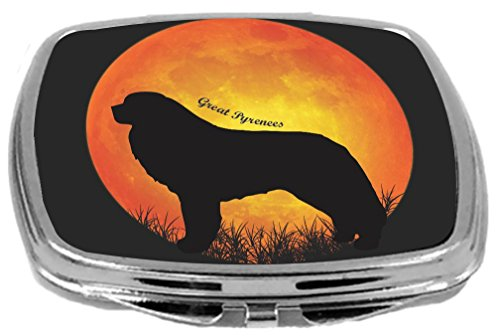 Rikki Knight Great Pyrenees Dog Silhouette By Moon Design Compact Mirror -
