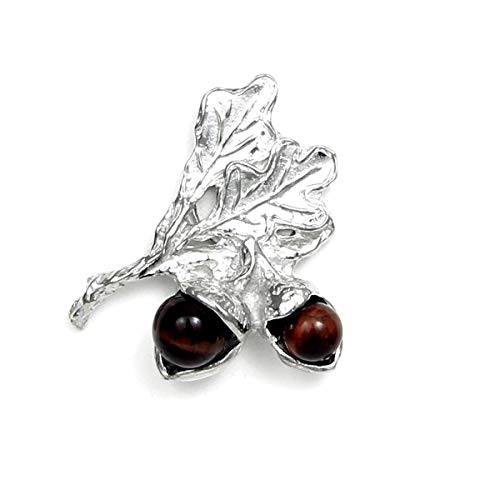 Acorn Scarf Pin with Magnetic Back Closure - No holes in Clothes - Gift Packaged - Handcrafted Pewter Made in USA