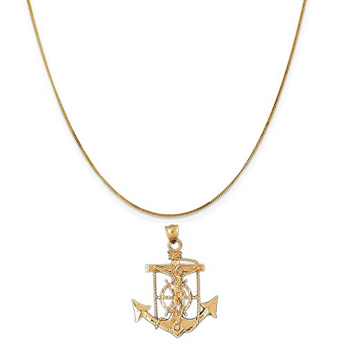14k Yellow Gold Mariners Cross/Crucifix Pendant on a 14K Yellow Gold Curb Chain Necklace, 16