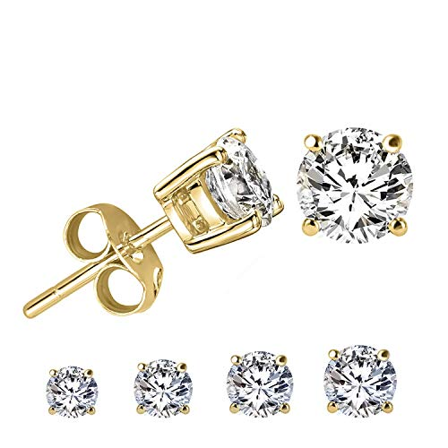 LIEBLICH Round Cut Cubic Zirconia Stud Earrings Stainless Steel Yellow Gold Plated Earrings Set 4 Pairs 3mm-6mm ()