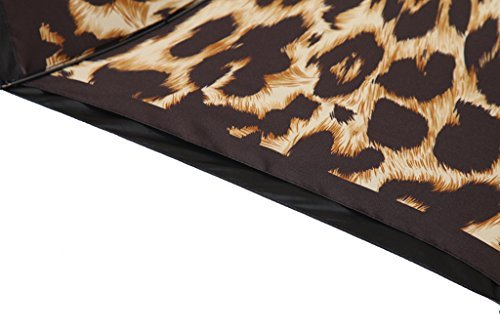Kobold Tavel Umbrella Compact Mini Lightweight Travel Umbrellas for Women Double Layers Canopy for Rain Sun Protection Comfortable Handle Leopard Print by Kobold (Image #8)