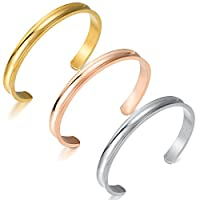 Areke Stainless Steel Cuff Bracelets for Women Girls High Polished Bracelet Bangle