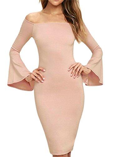 Retour À Manches Longues Cloche Ouverte Femmes Domple Scindée Épaule Robe Moulante Rose Au Large