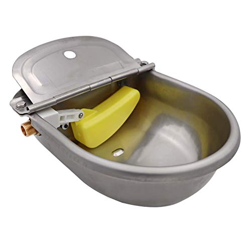 M.Z.A Stainless Steel Automatic Waterer Bowl with Float Valve Brass Fitting Dog Bowl for Livestock Horse Cattle Goat Pig