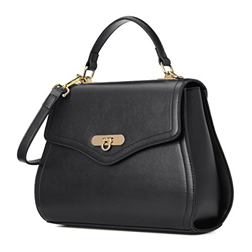 Kadell Women Leather Handbags Shell Shape Top Handle Purse with Removable Strap Black