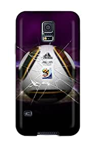 First-class Case Cover For Galaxy S5 Dual Protection Cover Fifa World Cup 2010 Ball Glass Broken Dark South Africa Football Soccer People Sports