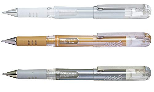 (Pentel Hybrid Gel Grip DX K230 Pack of 3/3 Rollerball Gel Pens Metallic Gold and Silver 1 mm White)